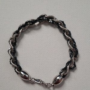 Braided Silver & Black Bracelet